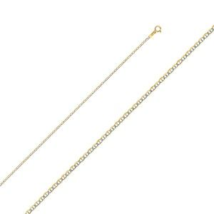 14K Yellow 1.5 mm Flat Mariner Chain - 16""